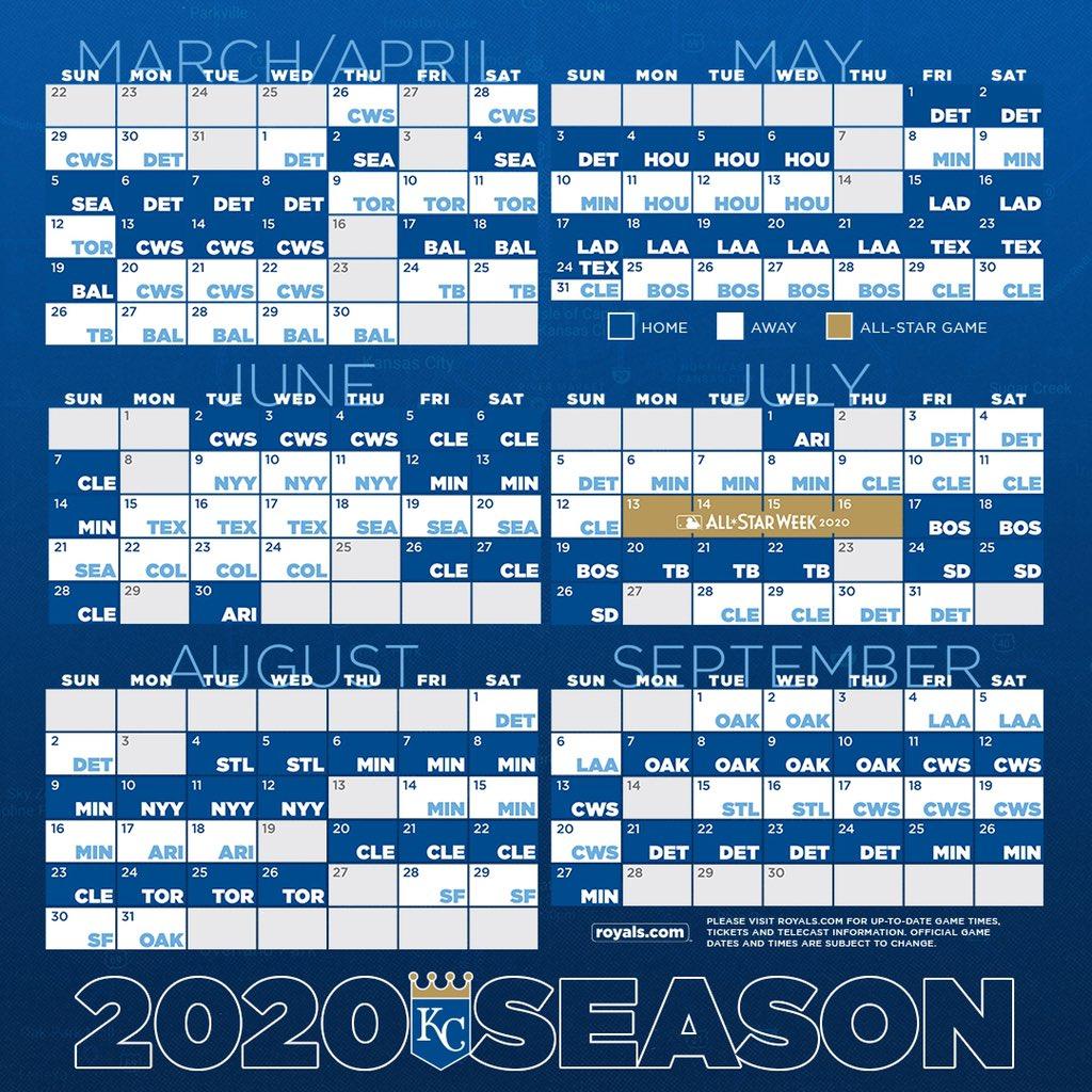 Royals Home Opener 2020.Full 2020 Regular Season Schedule Tweet Added By Kansas
