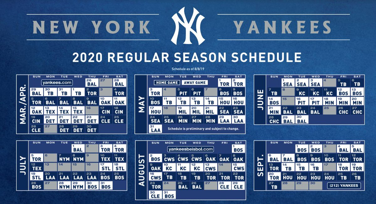 Yankees Home Opener 2020.Lindsey Adler On Twitter Yankees Schedule In 2020 The