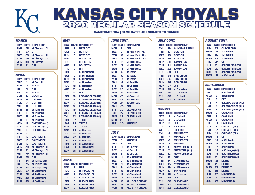 Royals Home Opener 2020.Alec Lewis On Twitter The Royals 2020 Schedule Is Out