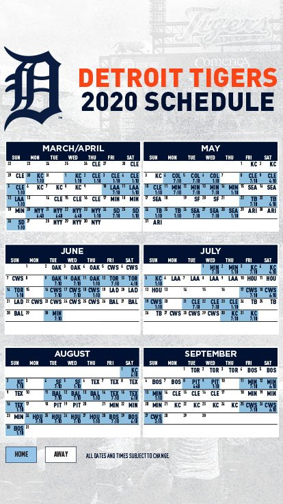 Tigers Home Opener 2020.2020 Detroit Tigers Schedule Schedule 2020 Hermanbroodfilm