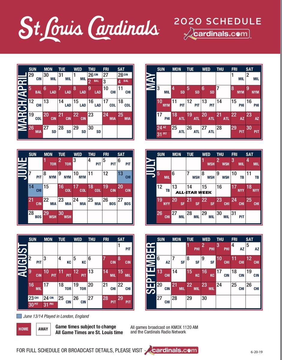 Cardinals Home Opener 2020.Erica Weston On Twitter Cardinals 2020 Schedule