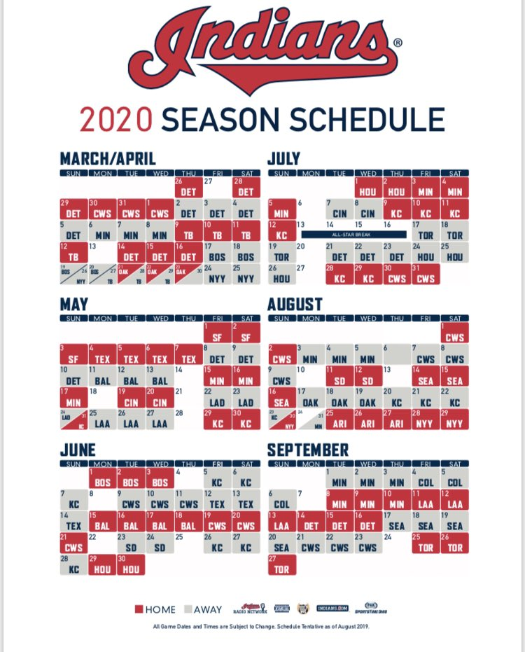 Tigers Home Opener 2020.Indians Announce 2020 Schedule Home Opener Set For March 26