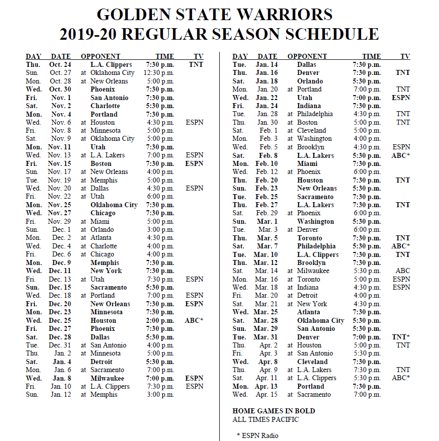 graphic about Warriors Printable Schedule named Warriors PR upon Twitter: \