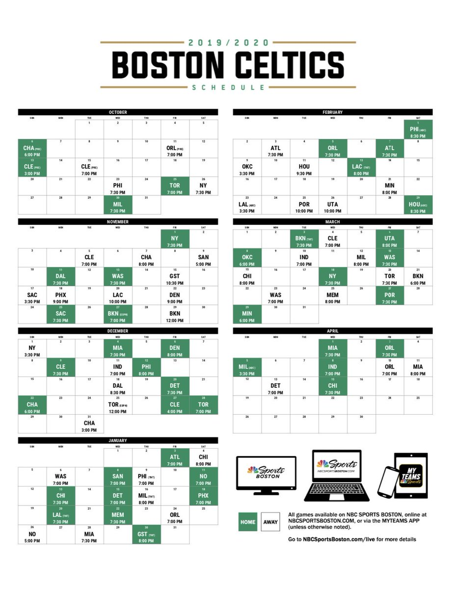 Celtics Schedule 2020.The Boston Brit On Twitter Schedule Release