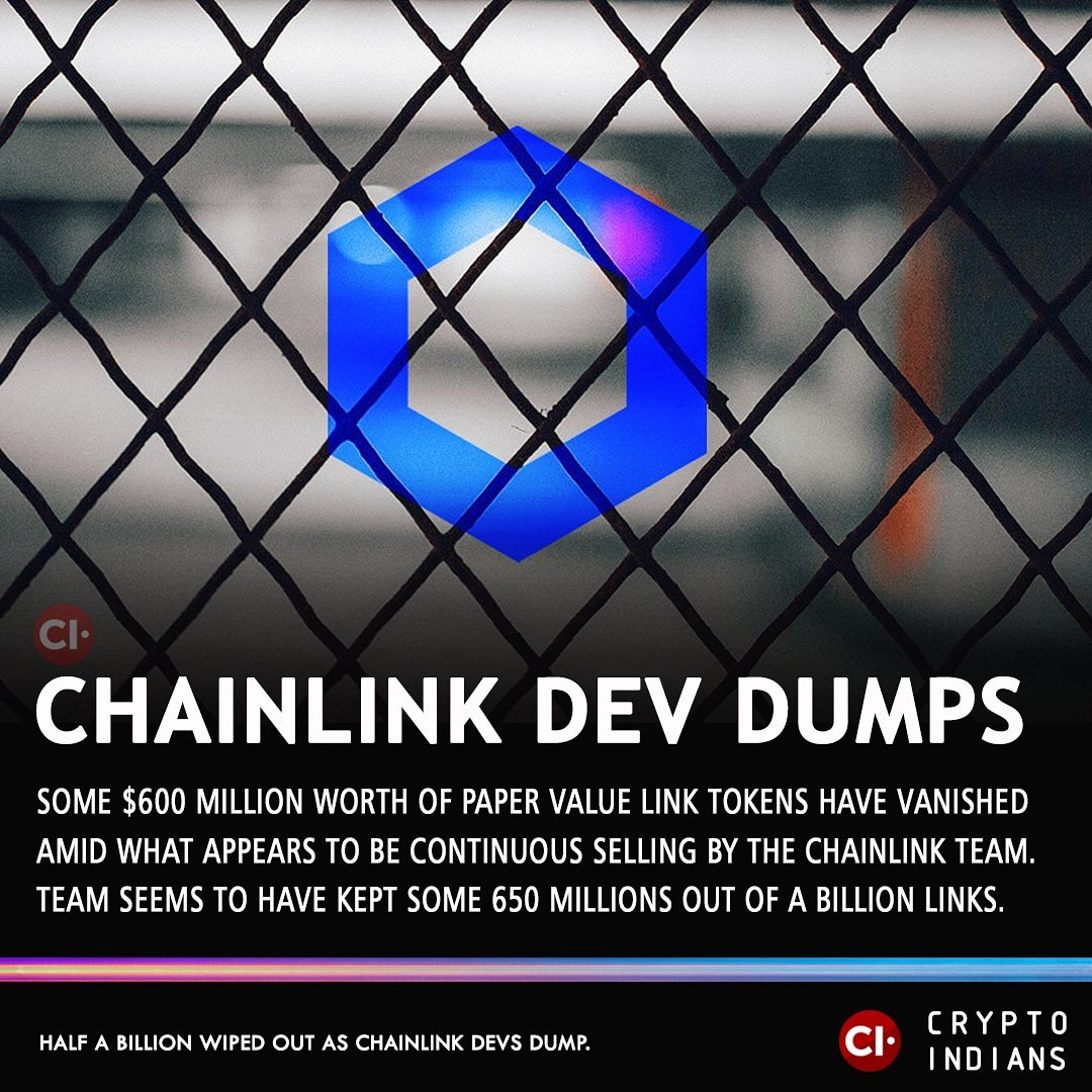 Half a Billion Wiped Out as Chainlink Devs Dump #million