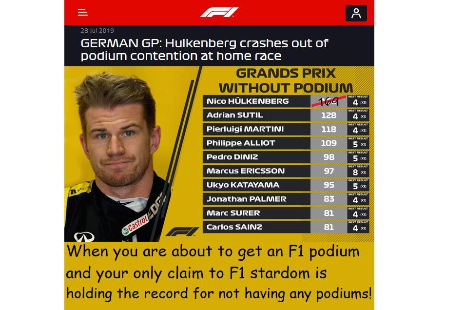 Karma or Cynicism? The www meme brigade have an opinion! 🙁 #F1 #GermanGP #Hülk #ScrotumGate #HaasF1 https://t.co/jxOMs0U6dh