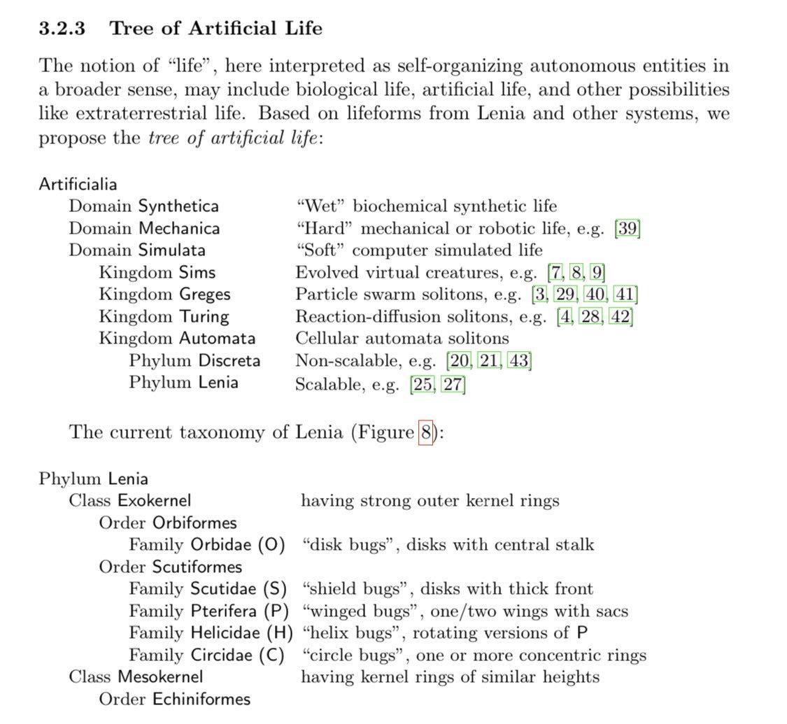 Leniaのペーパー、ALifeの分類をしていておもしろい