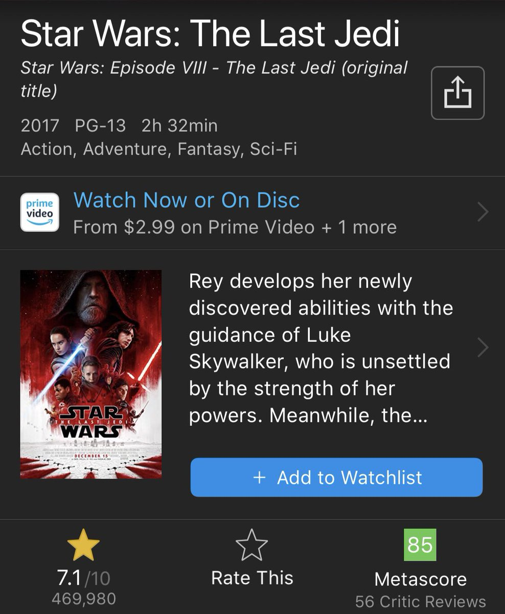 Ruin Johnson On Twitter The Last Jedi Is The Third Worst Rated Star Wars Movie In The Entire Saga On Imdb Fact But We All Know That You Re Trolling Because Why Else Would