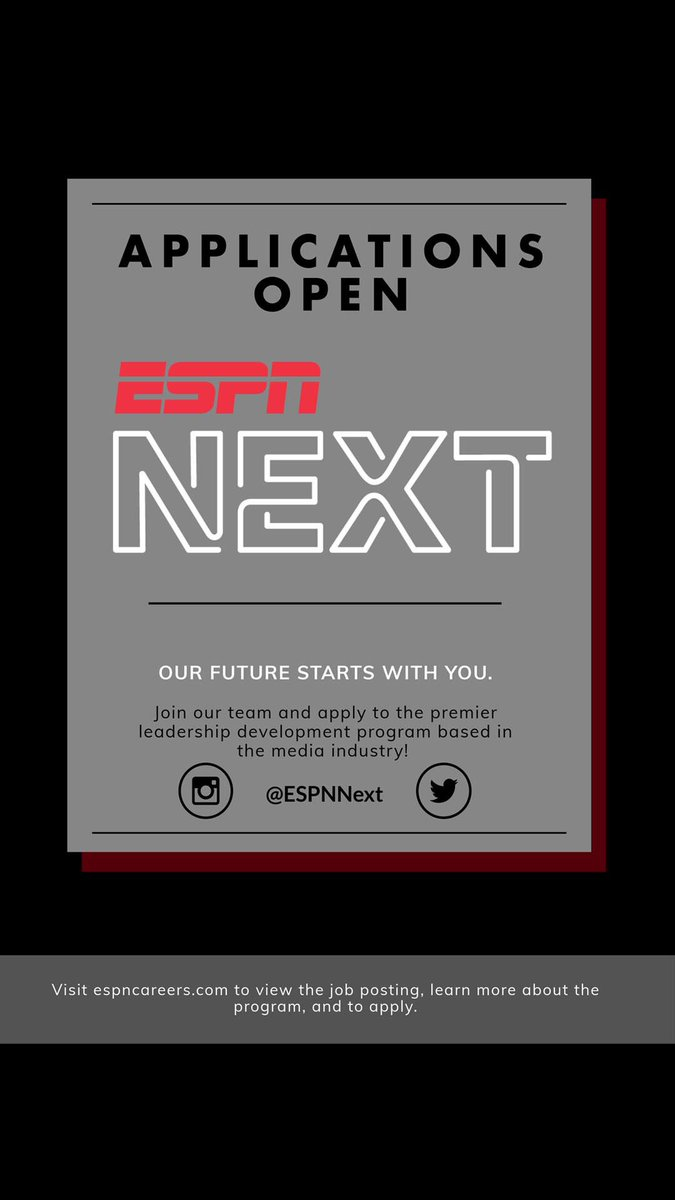 Do you want to be a part of ESPN Next?! Visit the link in our profile to apply! #AreYouNEXT