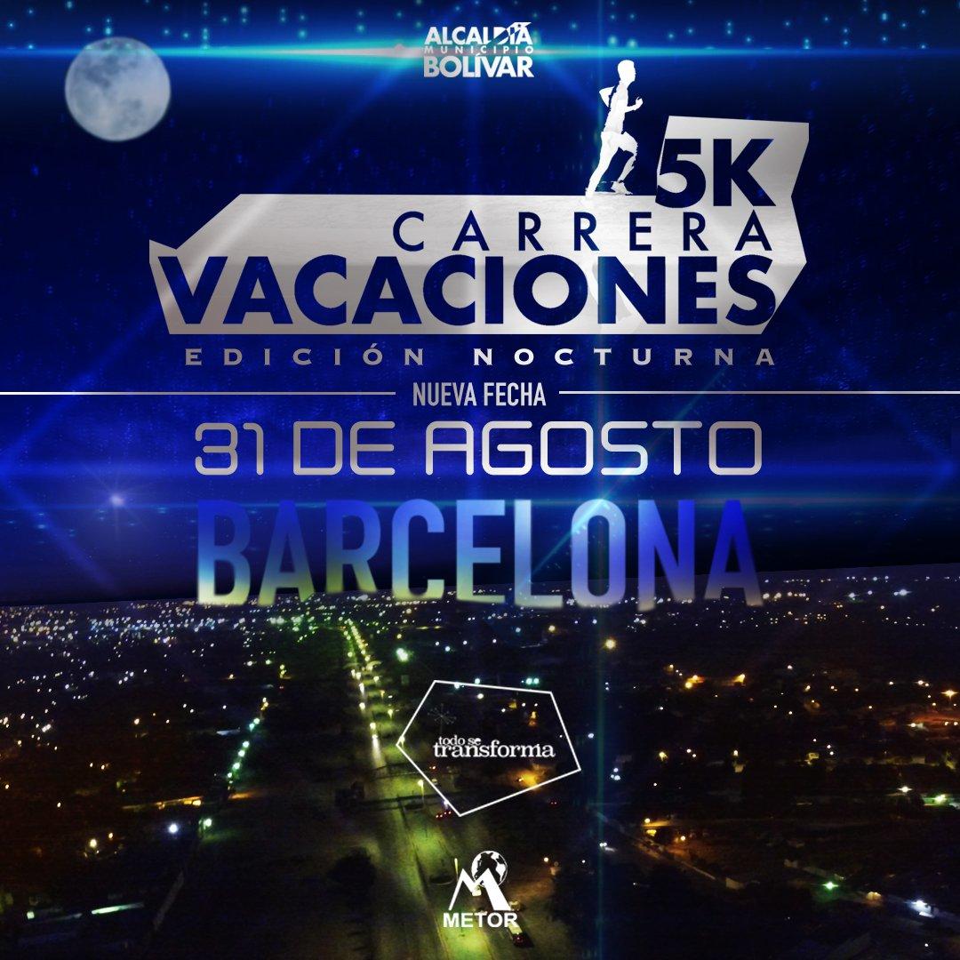 🏃♂Tenemos nueva fecha y nueva hora: 31 de Agosto y la carrera es nocturna! 🌌 Prepárate para el evento del año #5KVacaciones #TodoSeTransforma #AquíCrecemos #Barcelona #Anzoátegui #VenezuelaUnidaYEnBatalla @NicolasMaduro @luisjmarcano #reciclaje #ecología