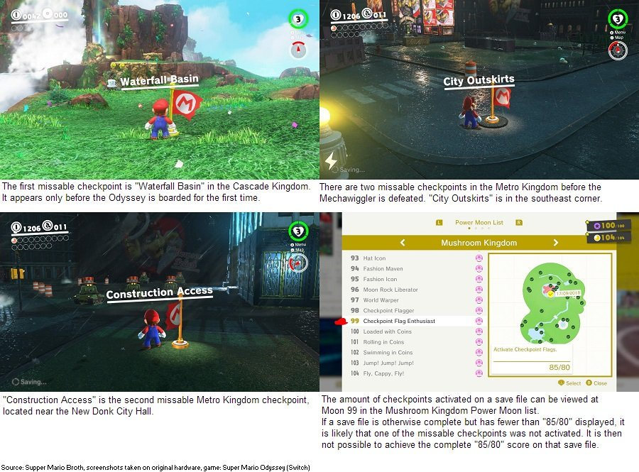 Super Mario Odyssey contains three Checkpoint Flags that are