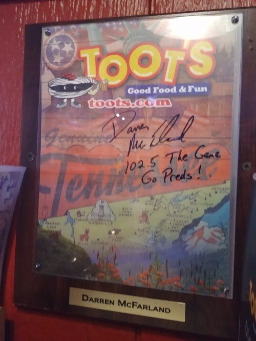 When walk in and see this on the wall and you're not missing. Thanks Toot's! #Feelinspecial
