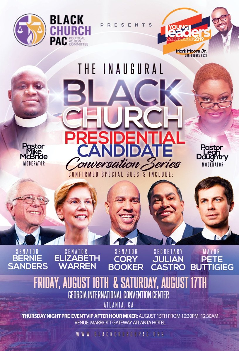 This Friday & Saturday, @pastormykmac , featured on #UnitedShades , & @blackchurchpac  are having the 1st Black Church Presidential Conversation Series hosted by @exploreylc . What do you want to hear from the candidates? Help #OrganizeTheChurch  by donating:  https://secure.actblue.com/donate/theblackchurchpac  …