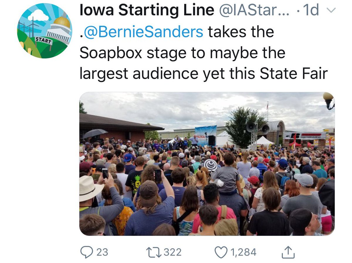 Gonna let these two perspectives on @BernieSanders at the @IowaStateFair speak for themselves.