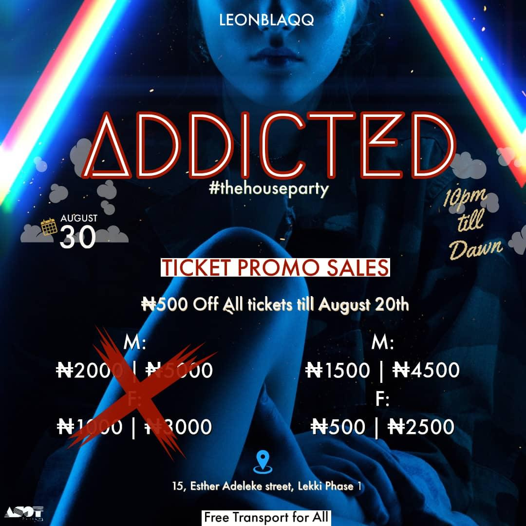 What are the things you are addicted to?  Countdown to August30 10pm till dawn   #AddictedTheHouseParty<br>http://pic.twitter.com/TUC8xu2b1O