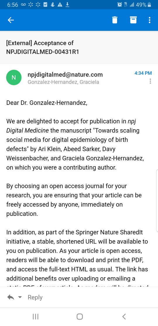 test Twitter Media - Our work sponsored by @nlm_news and @UPennIBI on Social Media Mining for the study of birth defects was accepted for publication in Digital Medicine @Nature_NPJ #SMM4H 🙌🏽😁 Go @UPennHLP team! https://t.co/F6OT0La7Se