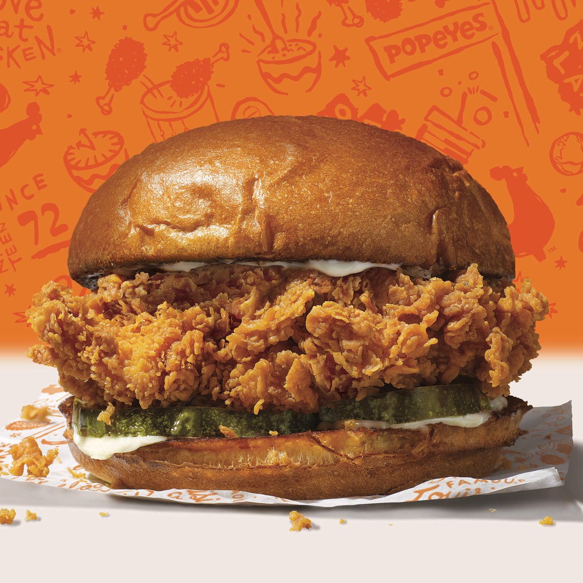 Chicken. Brioche. Pickles. New. Sandwich. Popeyes. Nationwide. So. Good. Forgot. How. Speak. In. Complete. Sandwiches. I mean, sentences.