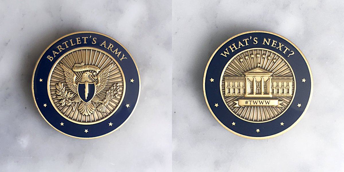 Two announcements: In honor of the upcoming 20th anniversary of the West Wing debut, were doing 20% off the Bartlets Army challenge coin with code WESTWING20. thewestwingweekly.com/coin