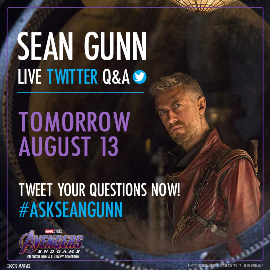 .@SeanGunn from Marvel Studios' #AvengersEndgame, AKA on-set Rocket, joins us LIVE to answer your questions on Twitter tomorrow at 2 PM PT! Tweet your questions now with hashtags #AskSeanGunn and #AvengersEndgame.<br>http://pic.twitter.com/rRcBPnF0Jm