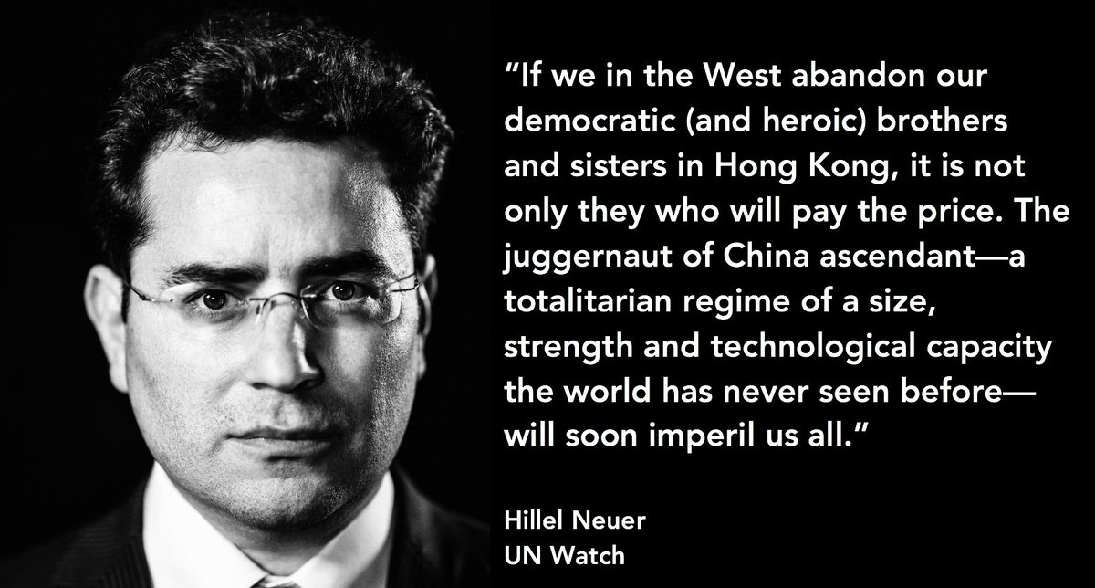 If we in the West abandon our democratic & heroic brothers & sisters in Hong Kong, not only they will pay the price. The juggernaut of China ascendant—a totalitarian regime of a size, strength & technological capacity which none could ever have imagined—will soon imperil us all. https://t.co/RZS8L9dTn9