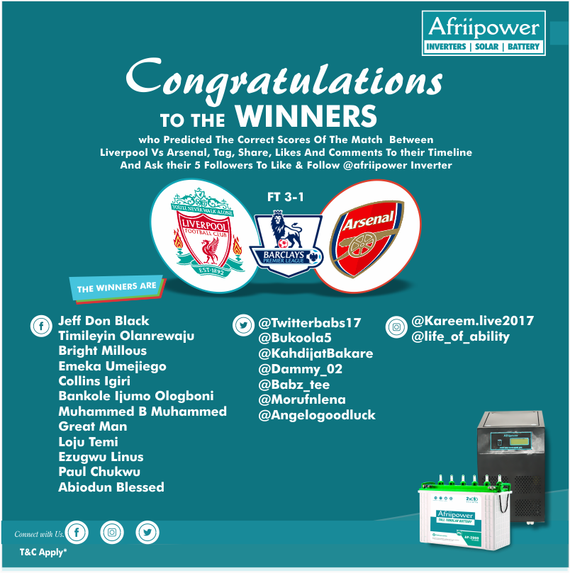 We say a #BIG #Congratulations to the #winners listed below, who predicted the correct scores of the match between #Liverpool Vs #Arsenal, Tag, Share, Likes and Comments to their Timeline and Ask Their 5 Followers To Like & Follow @Afriipower #batteries #Inverter.  #Football #EPL https://t.co/sHIfw7WT63