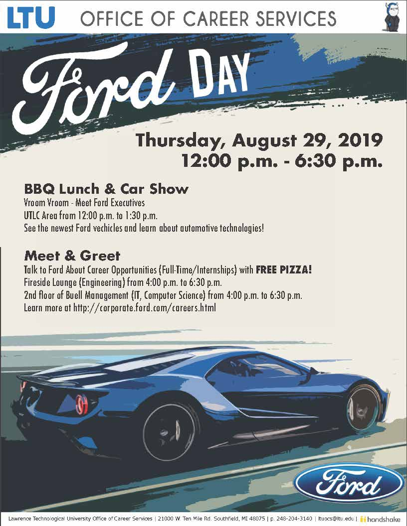 ltu college of business it on twitter join career services on august 29 from 12 6 30 p m for some food auto show and opportunities for full time jobs and internships ford https t co ivkuhb9ikb twitter