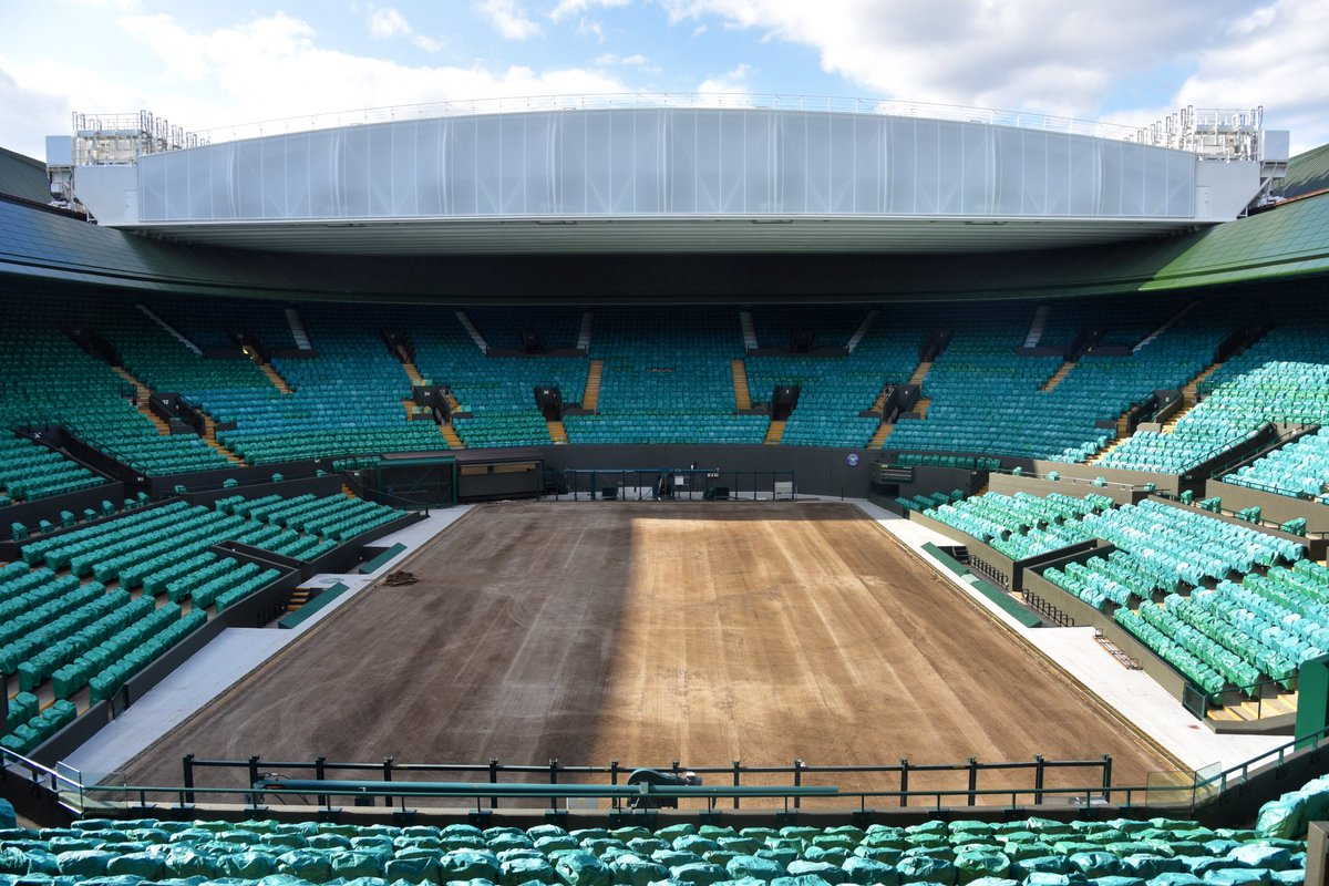 🌱🔜 Renovations for #Wimbledon 2020 have begun on No.1 Court...
