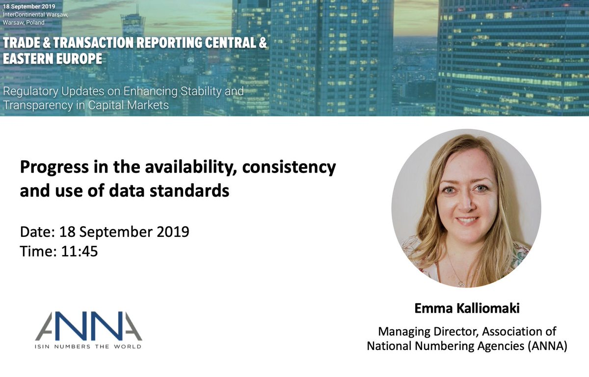 On the 18-Sep Emma Kalliomaki, Managing Director for ANNA, will be speaking on a panel at Infoline's Trade & Transaction Reporting CEE event in Warsaw on the progress in the availability, consistency and use of data standards. https://t.co/KCrHHVT6nM https://t.co/hViwp96lIf