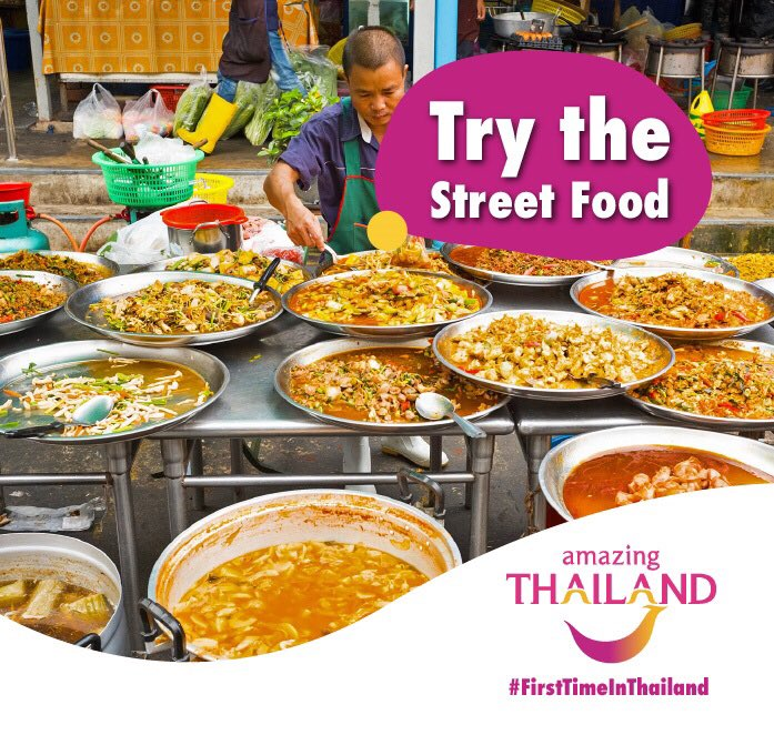 #FirstTimeInThailand Thailand boasts some of the best street food in the world! It only costs a couple of Rand to fill your plate up with massive portions of Phad Thai, sticky rice and mango and Tom Yum Goong! #amazingthailand #thaifood #thaifoodloverspic.twitter.com/C4ZkHpRblV