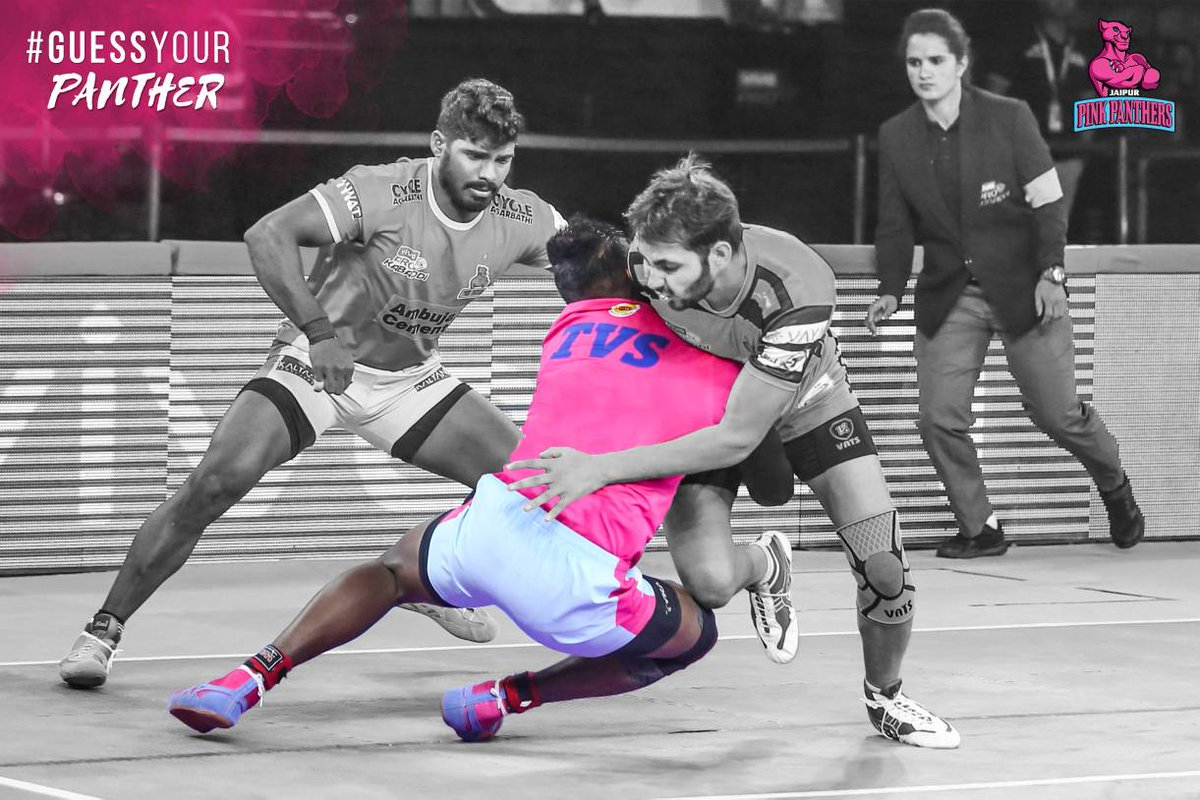Guess Your Panther! Which member of the #PantherSquad makes the tackle here?  Comment your answers below!  #RoarForPanthers #PantherSquad #Panthers #TopCats #Kabaddi #JaipurPinkPanthers #ProKabaddi #JaiHanuman #PKL #LePanga #StarSports #VIVOProKabaddi