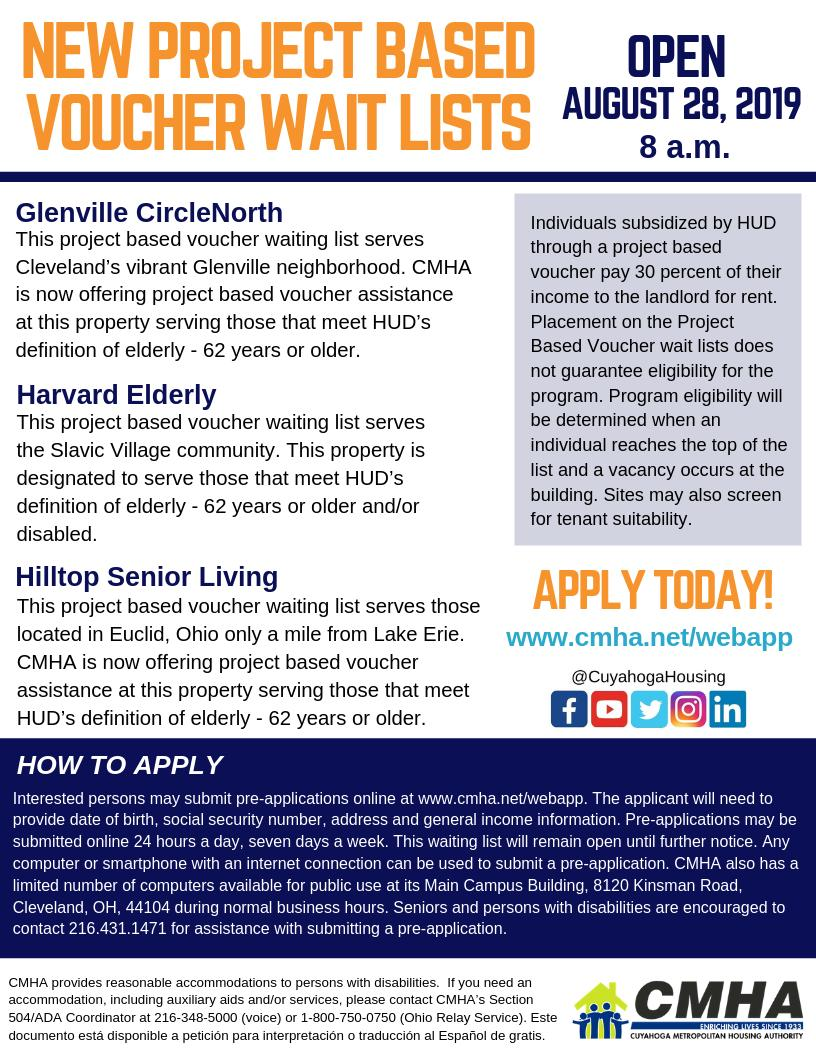 """CMHA on Twitter: """"CMHA will be accepting applications for Glenville  CircleNorth, Hilltop Senior Living and Harvard Elderly project based  voucher waiting lists starting on Wednesday, August 28, 2019.…  https://t.co/BIyAVSA07A"""""""