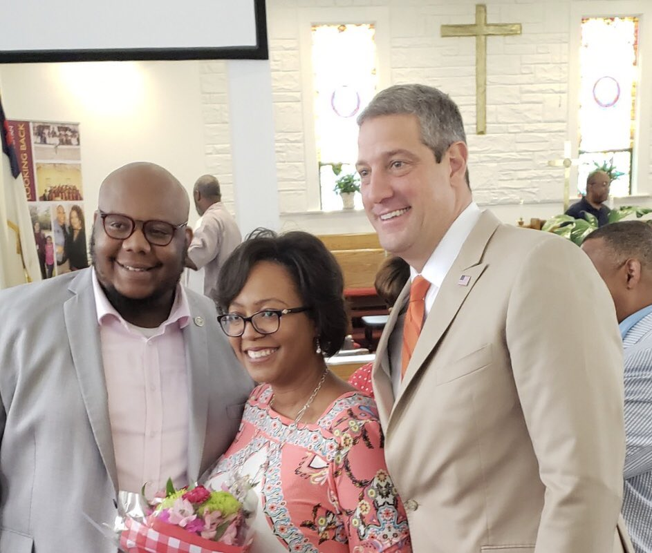 .@RevCLAdams inspired every single person at Israel Metropolitan CME Church in Greenville, #SouthCarolina with a rousing sermon this morning: Get thee behind me, & get out of the White House! @TimRyan presented his wife with flowers & was grateful to to attend. #Ryan2020