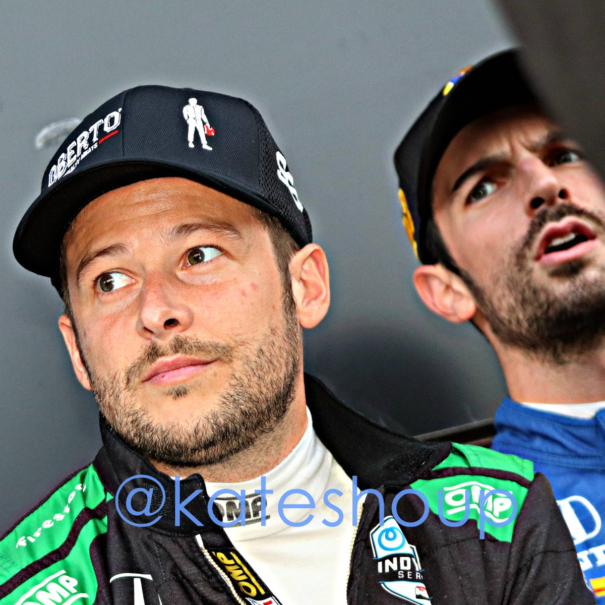 The #indycar #bommarito500 was AMAZING, obvs, but it finished up late, and we gorged ourselves at Waffle House afterward, so I didnt get to my pics until this morning. Heres @MarcoAndretti with @AlexanderRossi pre-race cc: @FollowAndretti #rossilooksmad