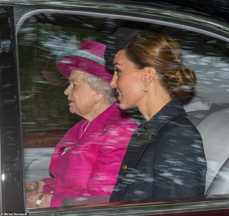 The Duke and Duchess of Cambridge accompanied Her Majesty The Queen for Sunday Service at Balmoral this morning. 📷: Press Association