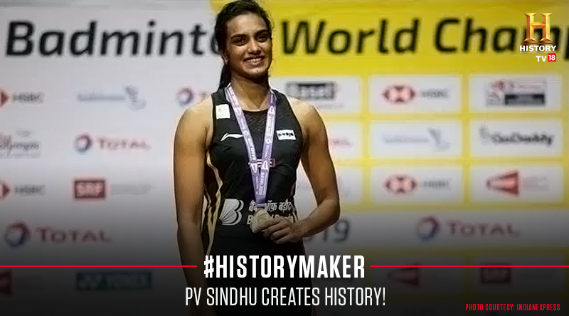 PV Sindhu becomes the first Indian to win a World Championships gold. #PVSindhu #BWFWorldChampionships2019 #BadmintonWorldChampionships #WorldBadmintonChampionship #BWFWC2019 #HistoryMaker @pvsindhu1<br>http://pic.twitter.com/JSZCGUnDn0