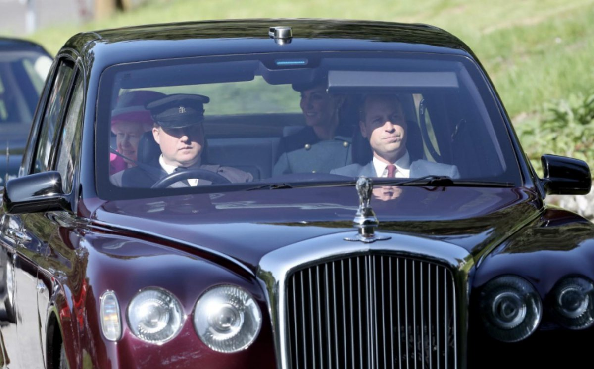 Queen Elizabeth II alongside the Duke and Duchess of Cambridge arrive at Crathie Kirk for the Sunday church service near Balmoral, where members of the royal family are currently spending their summer holidays @PA