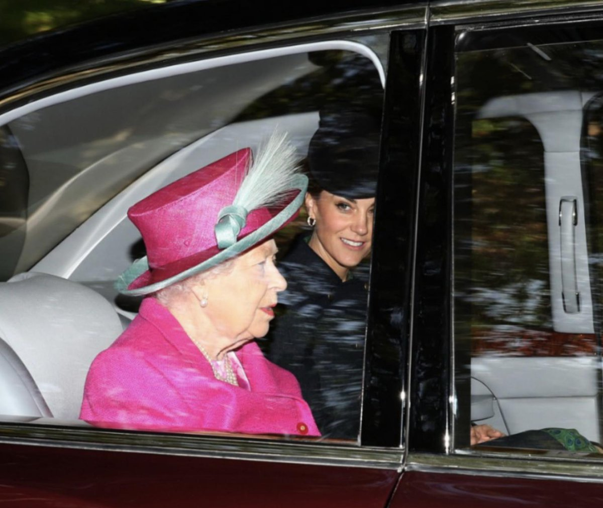 @PA Queen Elizabeth II alongside Duchess of Cambridge arrive at Crathie Kirk for the Sunday church service near Balmoral @PA