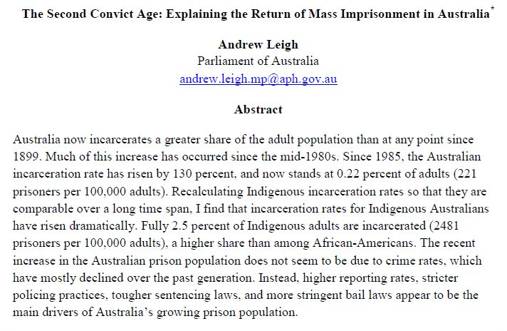 Having Parent Behind Bars Costs >> Andrew Leigh S Tweet In My New Study On Prisons I