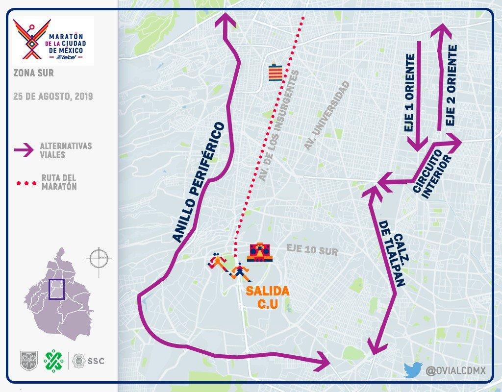 A través de @OVIALCDMX podrás consultar cierres a la circulación y alternativas viales con motivo del #MaratónCDMX2019.