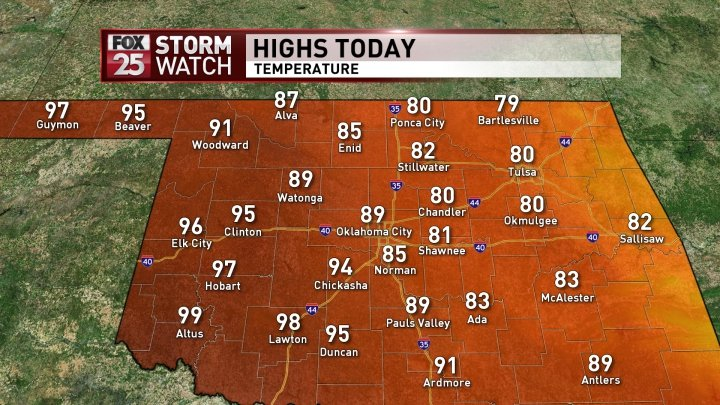 Good morning Oklahoma! What to expect for this afternoon! More details here -> https://t.co/7ED39FwcSn https://t.co/gni9AmbQTl