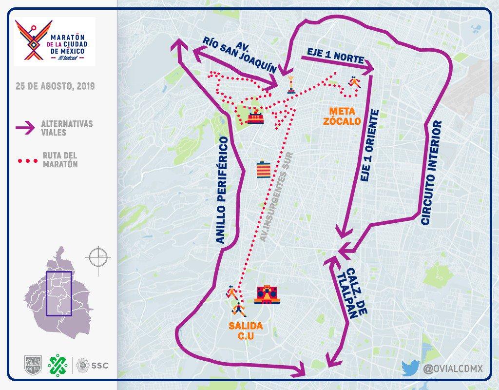 Se lleva a cabo el #MaratónCDMX2019 con un recorrido de más de 42 kilómetros sobre principales arterias, el punto de salida en inmediaciones de Ciudad Universitaria ubicada en Insurgentes Sur. Aquí #AlternativaVial