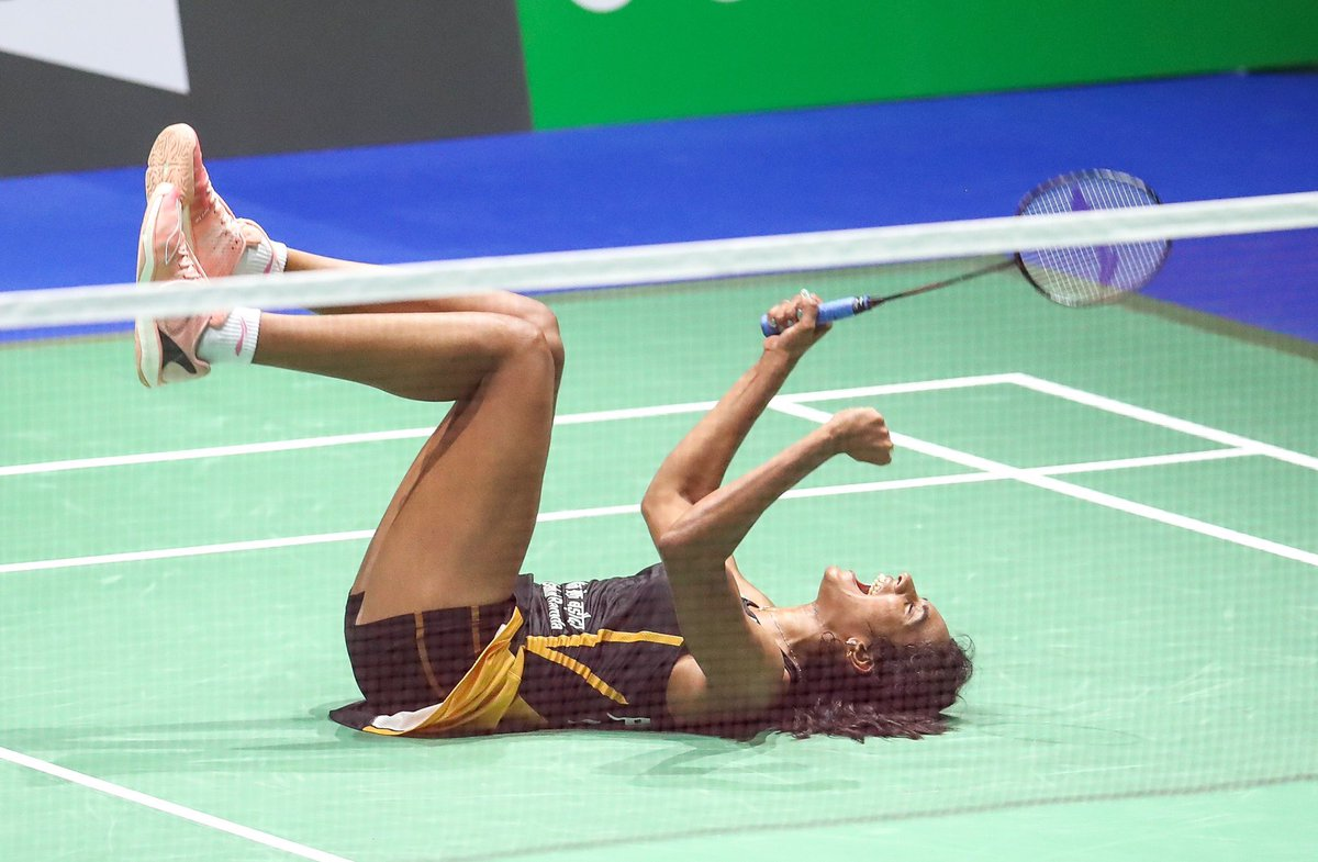 HISTORY SCRIPTED! ✍🇮🇳 Champion Stuff from @Pvsindhu1 as she becomes first Indian to be crowned World Champion. Kudos Girl, takes sweet revenge against @nozomi_o11 defeating her 21-7,21-7 in the finals of #BWFWC2019. Nation rejoices!👏🔥 #IndiaontheRise
