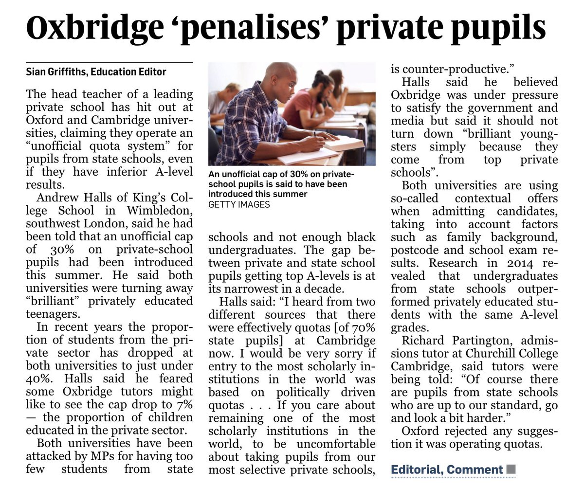Scandalous that these days going to private school only QUADRUPLES your chance of getting into Oxbridge. I really must learn to play the violin to accompany these increasingly ridiculous headlines.