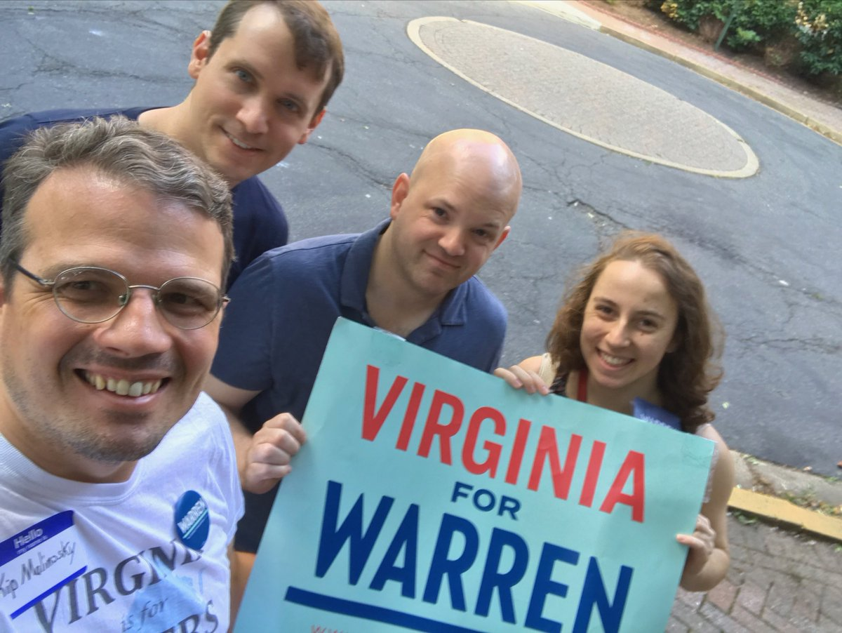 Canvassing for Warren on a beautiful day! Great to talk to Democratic voters about fighting for big, structural change. #Warren2020 ⁦@Virginia4Warren⁩ ⁦@DMVForWarren⁩ ⁦@EmmaYourFriend⁩ ⁦@The_AJSystem⁩