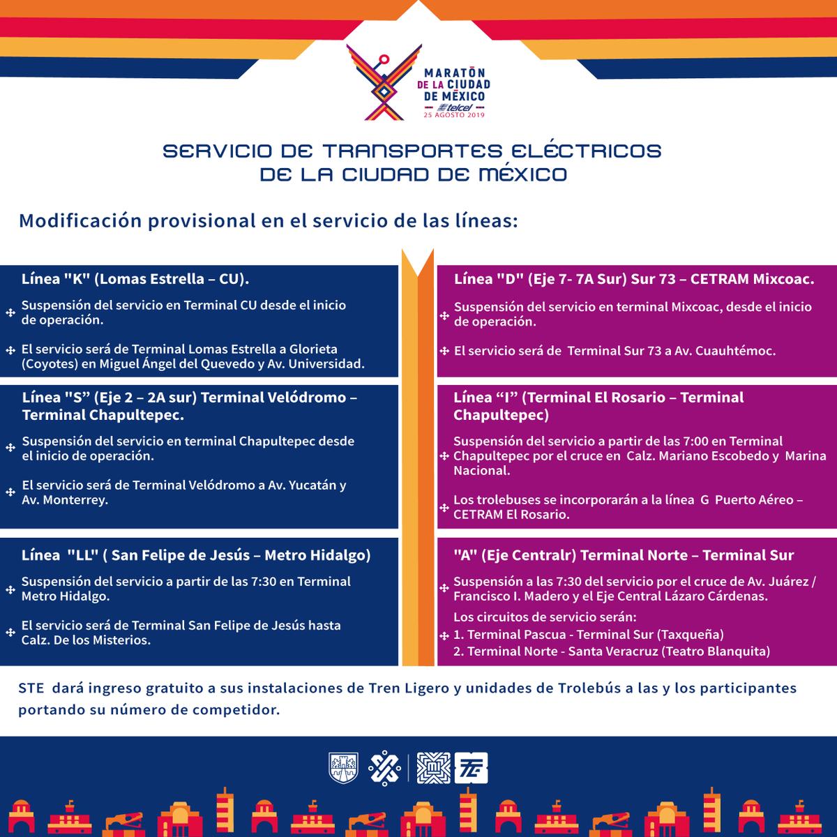 #MovilidadCDMX Modificaciones en el servicio de trolebús con motivo del #MaratónCDMX2019