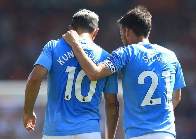 Agüero y Silva, ante el Bournemouth.