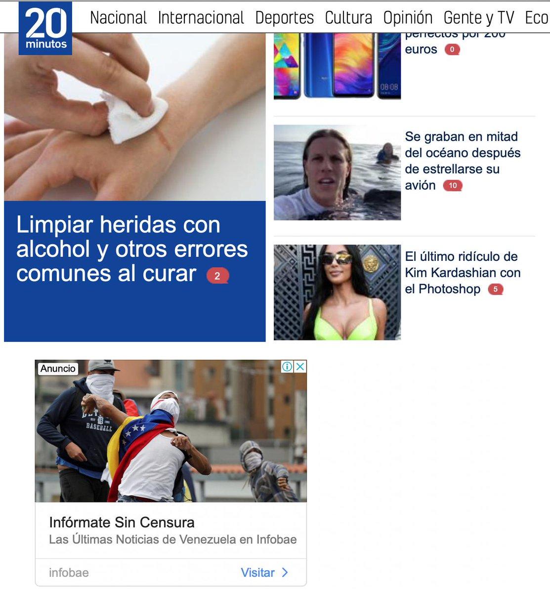 Entonces, entras a un medio digital español y encuentras toneladas de publicidad $$$ de un medio argentino que dice tener la mejor información sobre ¿Argentina? No, sobre Venezuela. Y todo normal...