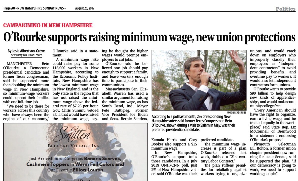 NEW this morning from @josie_UL in the @UnionLeader. How @BetoORourkes 21st Century Labor Contract would benefit the #FITN primary state. ORourke supports raising minimum wage, new union protection. #nhpolitics #Beto2020