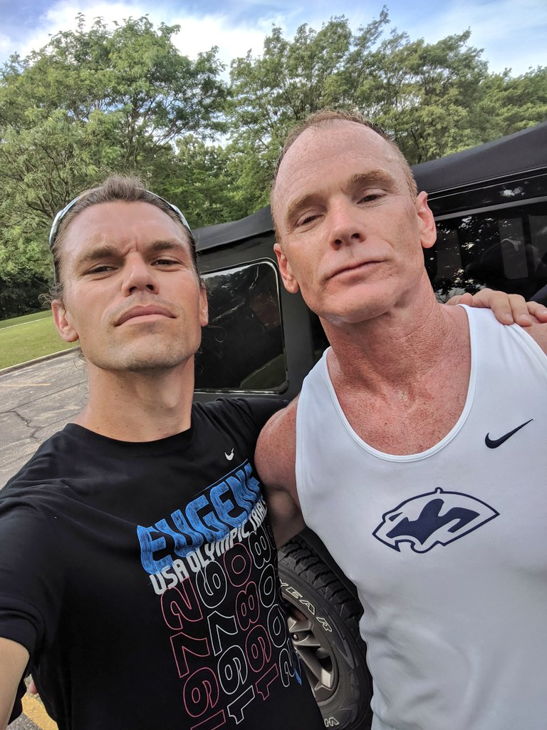 Running with the man...the myth...the LEGEND this morning!!! Thanks for meeting up @PSHSCougarsXCTF. Van Horn Woods is looking good for the City Championship Meet next weekend! #RunForFun #PMA <br>http://pic.twitter.com/nCiitxnQU7