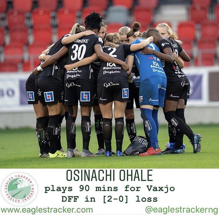 Super Falcons defender, Osinachi Ohale @OhaleOsinachi played 90 mins as #vaxjo fell to a [2-0] loss vs #vittsjö  —————————— More on  http:// eaglestracker.com     Link in bio —————————— #eaglestracker #supereagles #SoarSuperEagles #superfalcons #osinachiohale #team9jastrong <br>http://pic.twitter.com/EmwcrGJ3tO